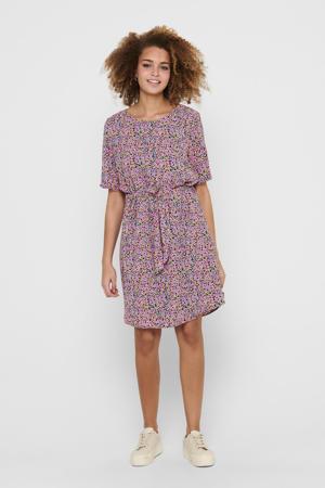 gebloemde jurk JDYAMANDA roze/paars/geel/zwart
