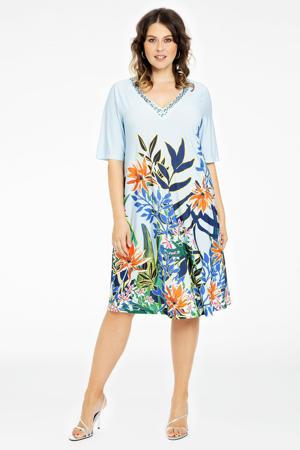 gebloemde jurk BOTANIC lichtblauw/oranje/groen