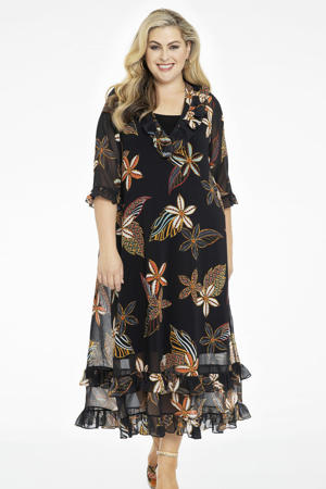 gebloemde semi-transparante maxi jurk MAYFLOWER zwart/multi