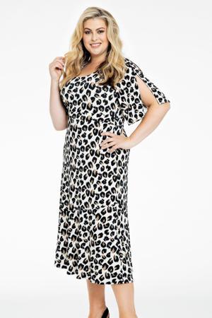 jurk FELINE met panterprint en volant wit/zwart/bruin