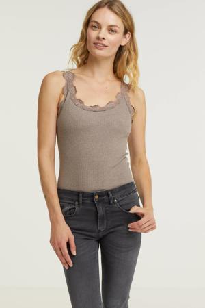 ribgebreide T-shirt met zijde taupe