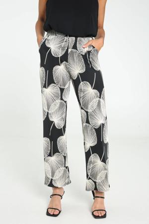 wide leg palazzo broek met bladprint zwart/ecru
