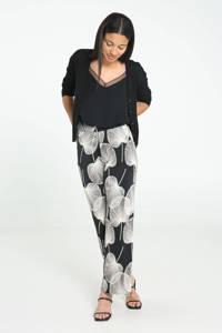 Cassis wide leg palazzo broek met bladprint zwart/ecru, Zwart/ecru