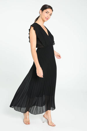 semi-transparante jurk met volant zwart