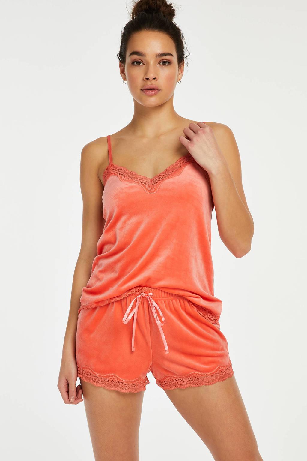 Hunkemöller velours pyjamashort oranje, Oranje