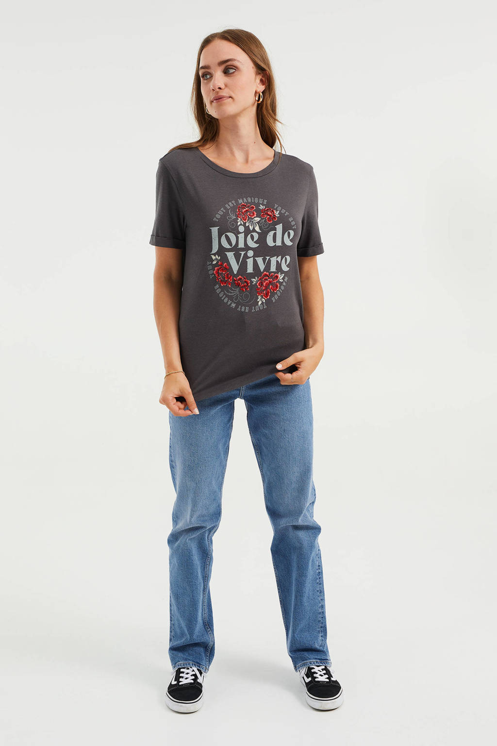 WE Fashion T-shirt met printopdruk donkergroen, Donkergroen