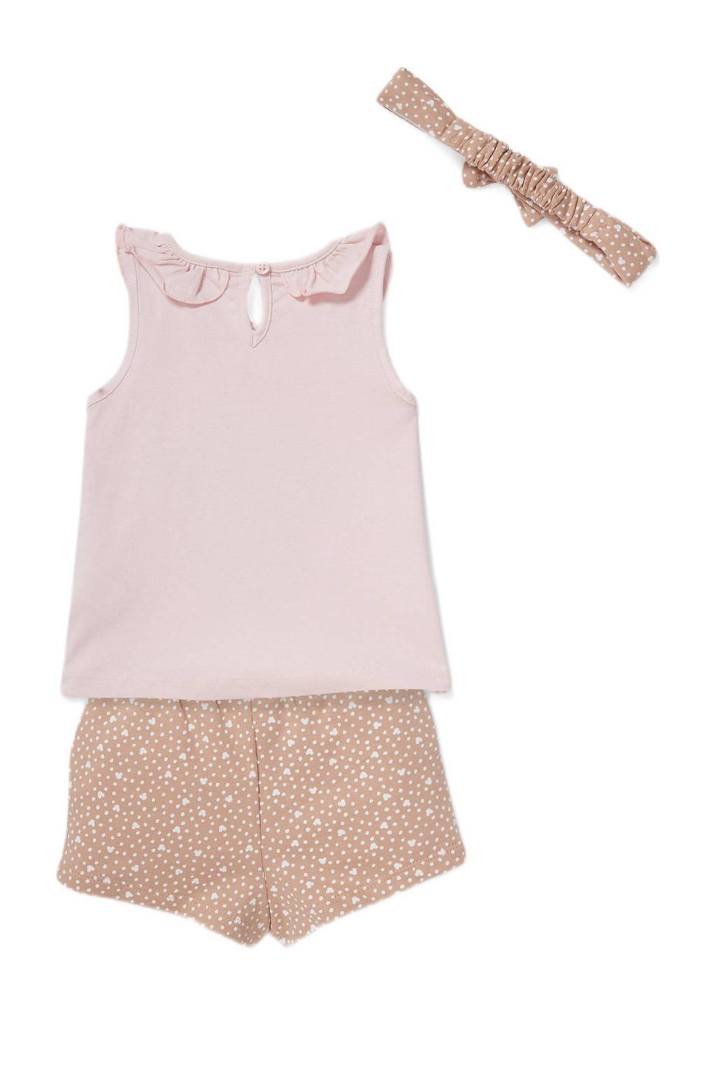 Disney Baby @ C&A   top + short met bijpassende haarband Minnie Mouse lichtroze, Lichtroze