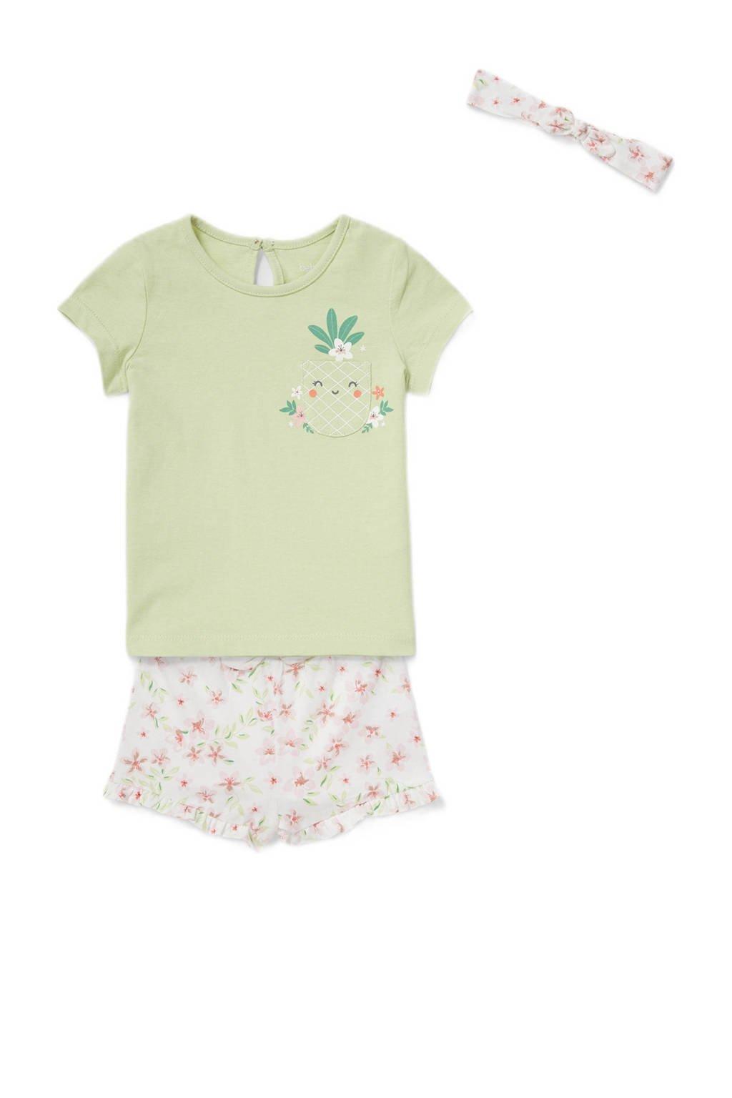 C&A Baby Club   T-shirt + short en bijpassende haarband lichtgroen/wit, Groen