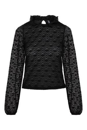 blouse PCFLORI met ruches zwart