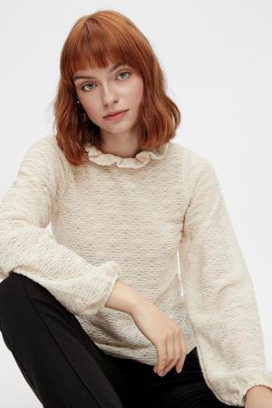 blouse PCFLORI met ruches ecru