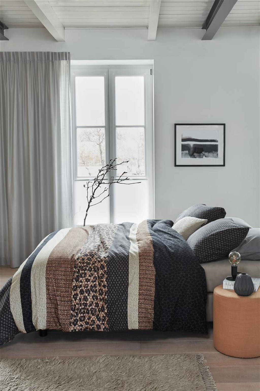 Beddinghouse flanellen dekbedovertrek lits-jumeaux, Lits-jumeaux (240 cm breed), Grijs
