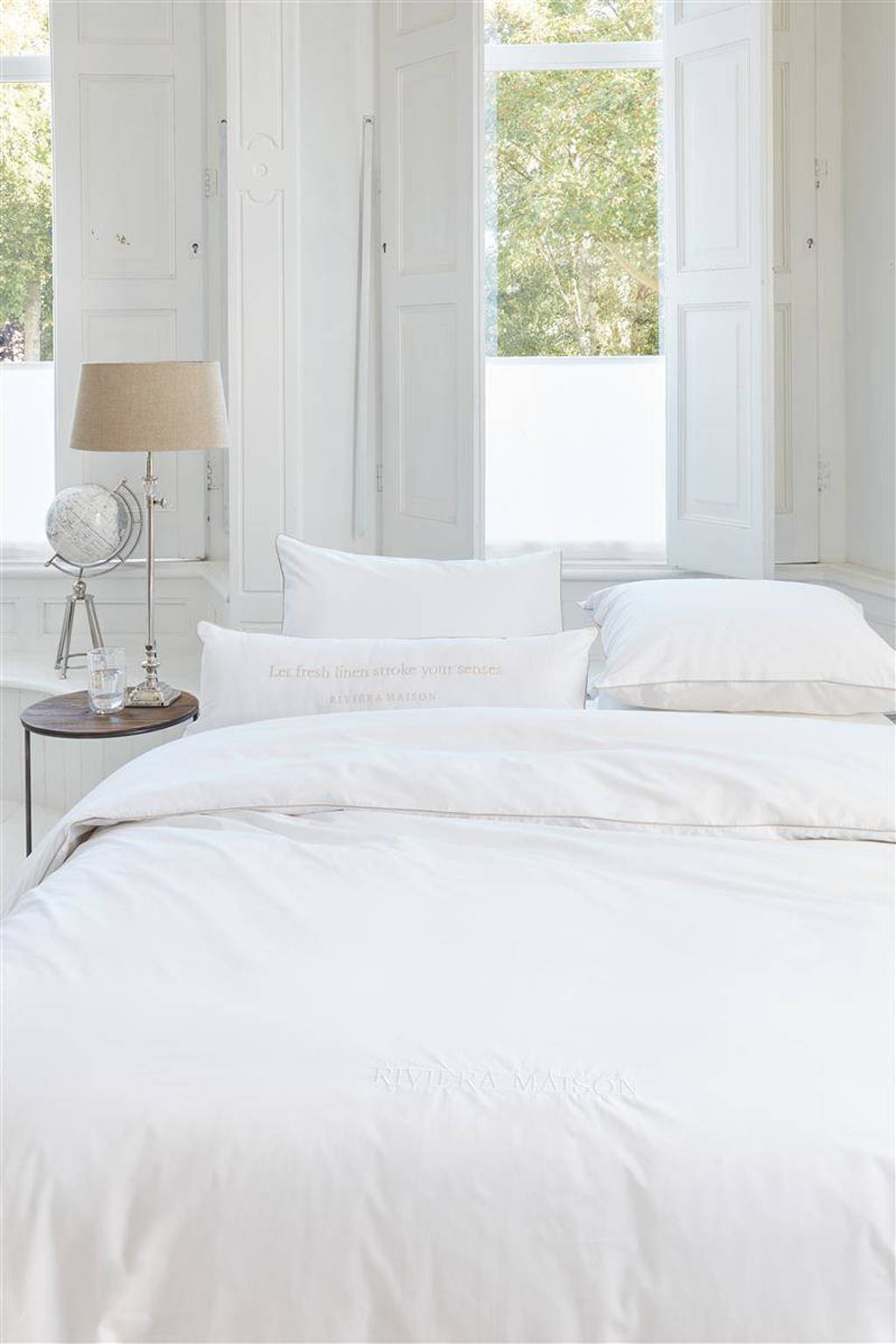 Riviera Maison katoensatijnen dekbedovertrek lits-jumeaux, Lits-jumeaux (240 cm breed)