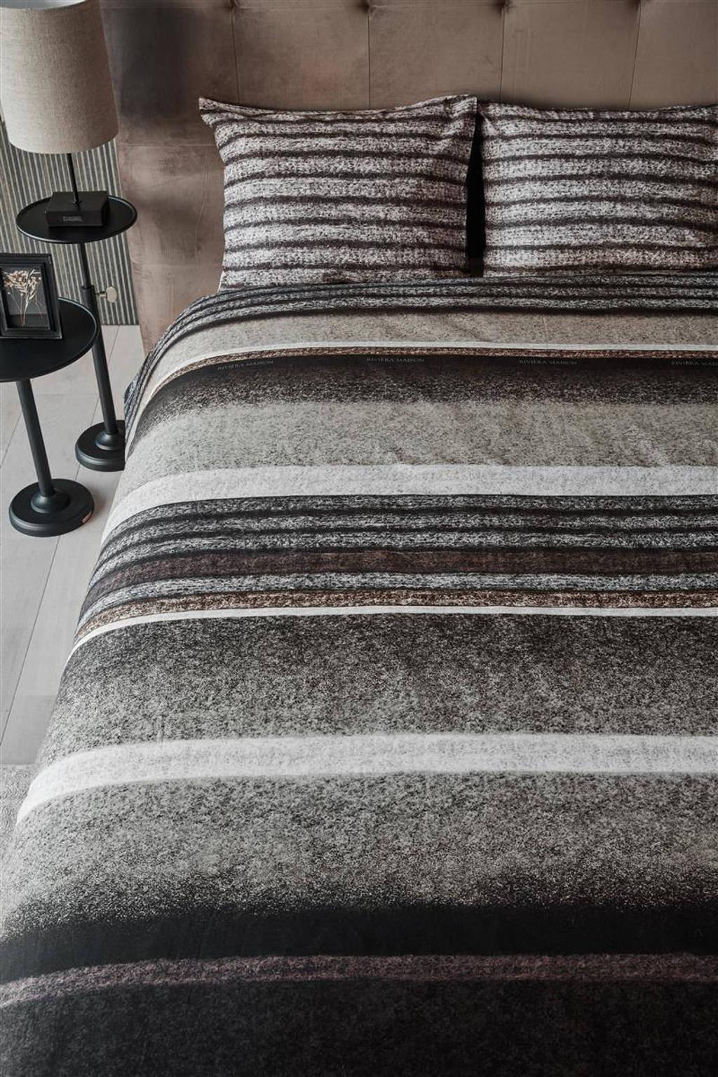 Riviera Maison katoenen dekbedovertrek lits-jumeaux, Lits-jumeaux (240 cm breed), Bruin