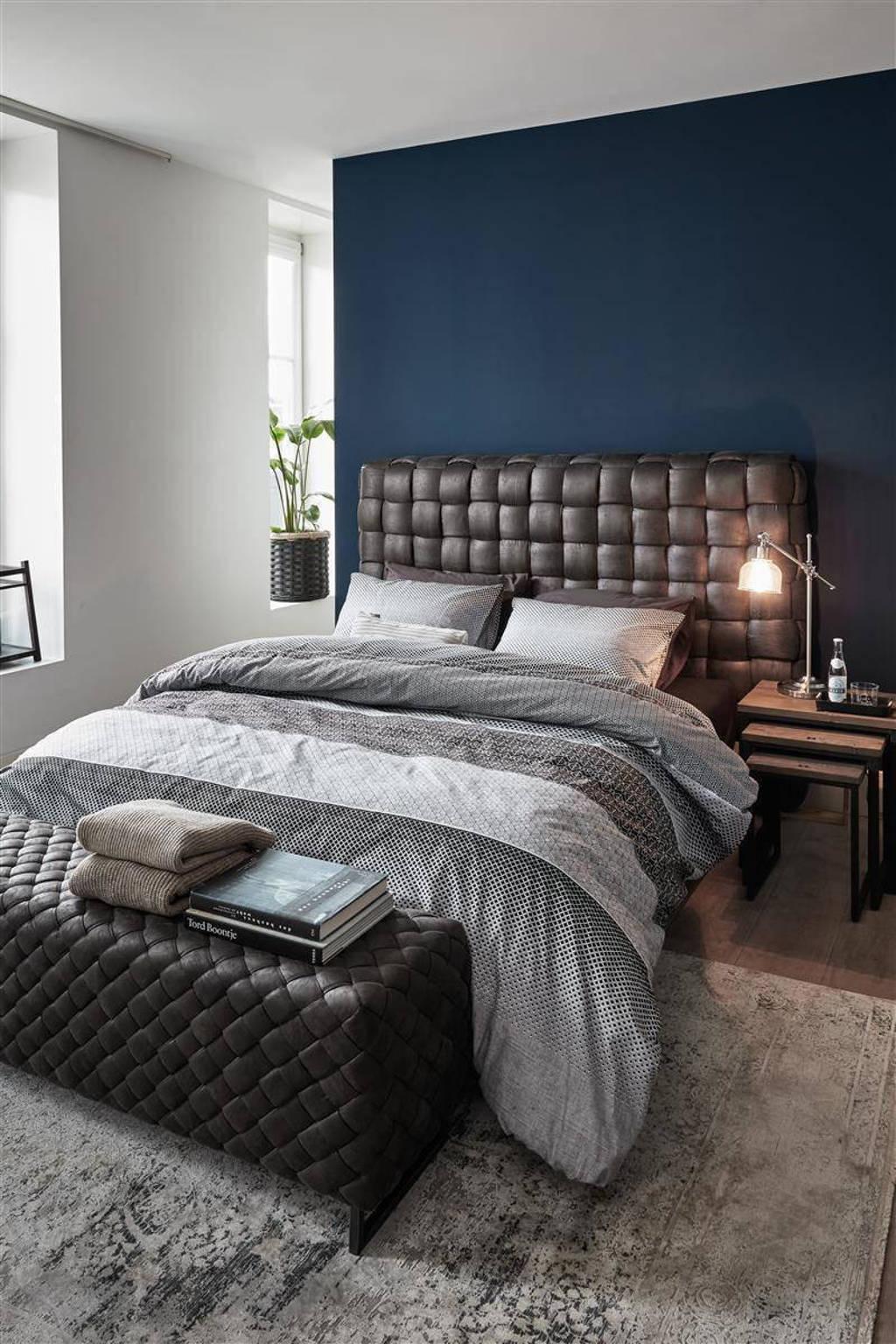 Riviera Maison katoenen dekbedovertrek lits-jumeaux, Lits-jumeaux (240 cm breed), Grijs