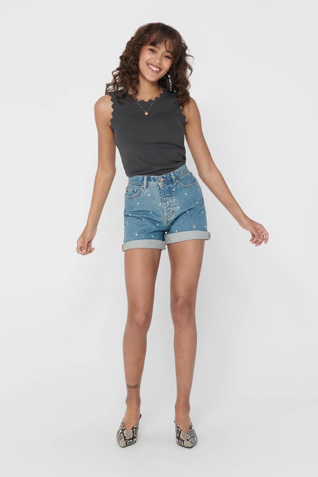 ONLY high waist jeans short ONLJOSIE met sterren medium blue denim, Medium blue denim