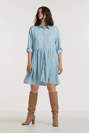 spijker blousejurk met plooien light blue
