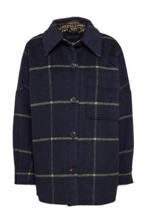 geruite shacket met wol donkerblauw/geel
