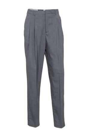 gemêleerde high waist tapered fit pantalon grijs