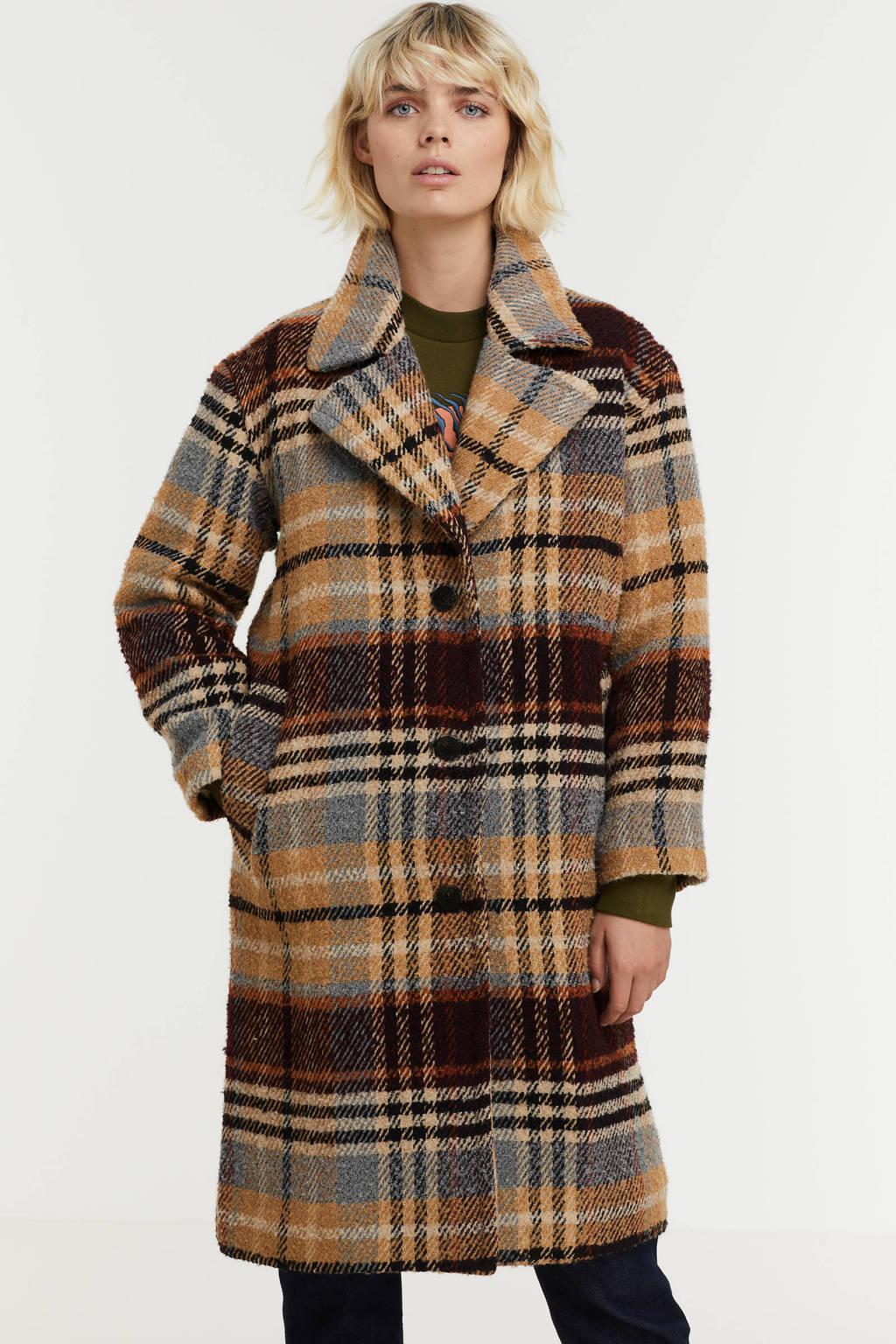 Scotch & Soda geruite  coat met wol beige/ blauw, Beige/ blauw
