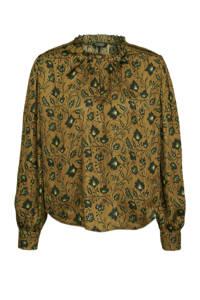 Scotch & Soda blouse met all over print bruin, Bruin