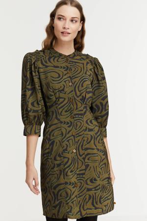 jurk met all over print en ruches groen