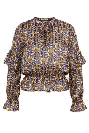 top van gerecycled polyester beige/blauw/roze