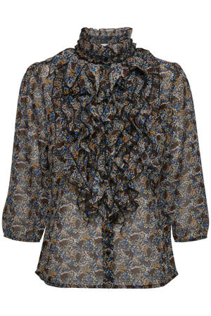 blouse Lilly met all over print en ruches zwart/multi