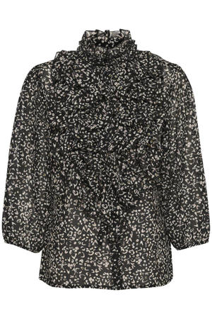 blouse Lilly met all over print en ruches zwart/wit
