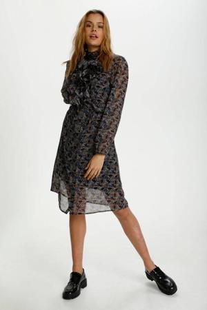 jurk Lilly met all over print en ruches zwart