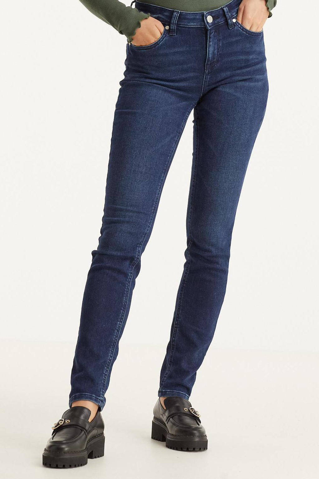 anytime slim fit jeans donkerblauw, Donkerblauw