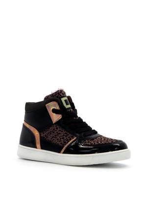 hoge sneakers met panterprint zwart/roze