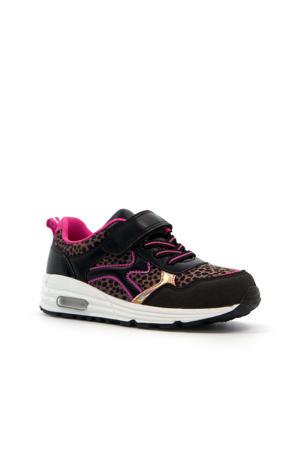 sneakers met panterprint zwart/roze