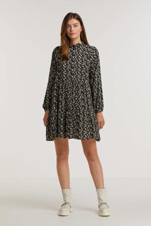 gebloemde A-lijn jurk Lucia zwart/lichtgeel/ecru