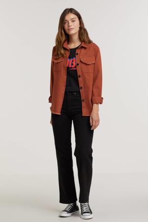 jasje met gerafelde details Tara roodbruin