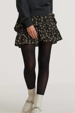 gebloemde mini rok zwart/wit/geel
