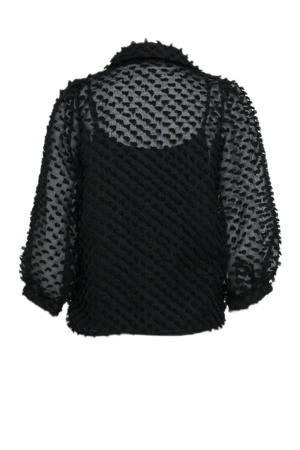 blouse Bowie met textuur zwart