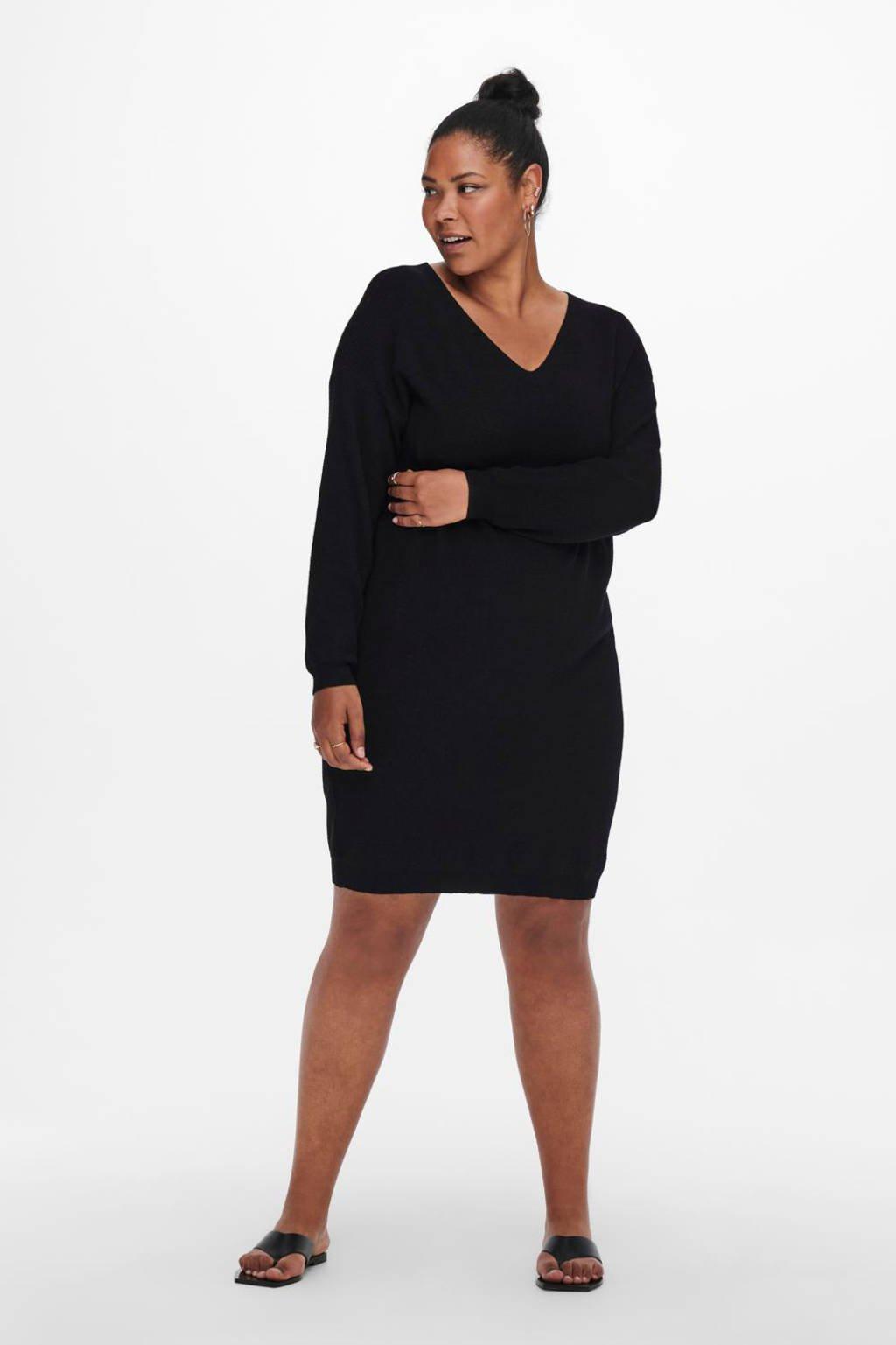 ONLY CARMAKOMA ribgebreide jurk CARESLY  LS V-NECK KNEE  DRESS KNT NOOS zwart, Zwart