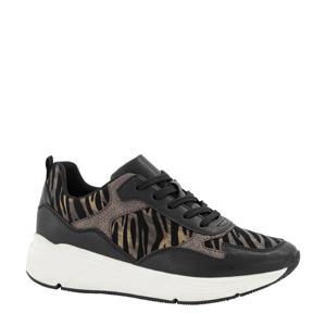 sneakers met zebraprint zwart/brons