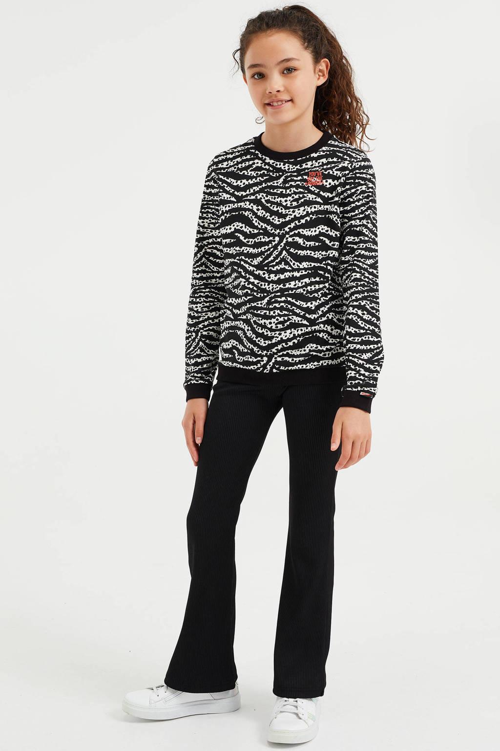 WE Fashion longsleeve met zebraprint zwart/wit, Zwart/wit