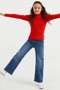 WE Fashion longsleeve met all over print en textuur rood, Rood
