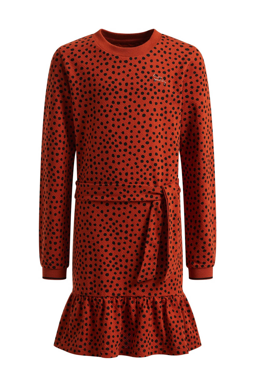 WE Fashion jurk met stippen en ruches donkerrood/oranje, Donkerrood/oranje