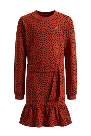 jurk met stippen en ruches donkerrood/oranje