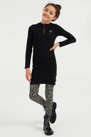 ribgebreide jurk zwart