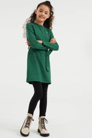 jurk met stippen en ceintuur groen