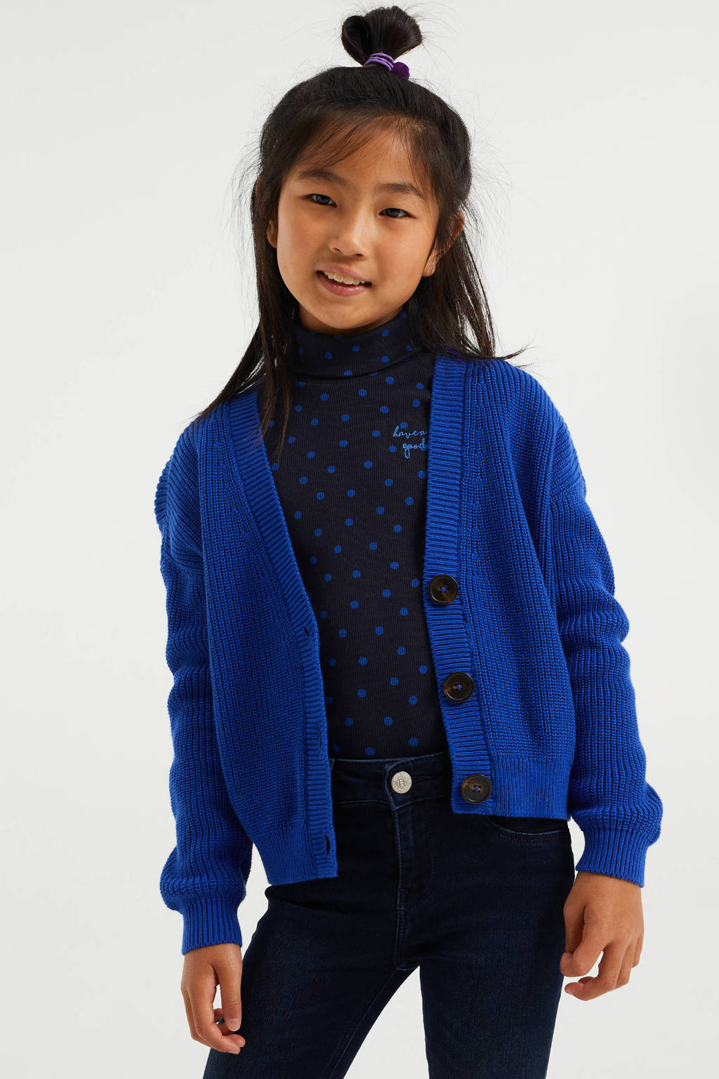 WE Fashion longsleeve met all over print en textuur donkerblauw, Donkerblauw