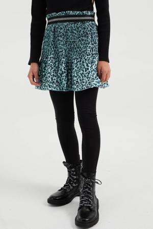 rok met panterprint en glitters lichtblauw/zwart