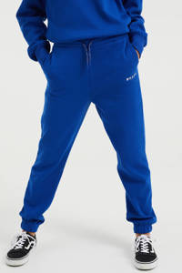 WE Fashion straight fit joggingbroek met tekst blauw, Blauw