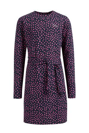 jurk met stippen en ceintuur donkerblauw/roze