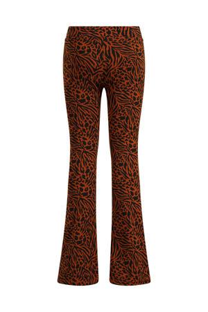 flared broek met all over print bruin/zwart
