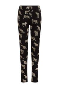WE Fashion legging met dierenprint zwart, Zwart